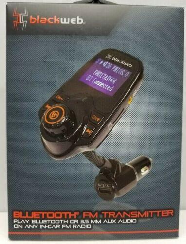 BlackWeb LCD FM Transmitter Bluetooth Or 3.5 Mm Aux Audio In-Car FM Radio