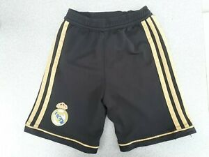 uk availability d61f7 519b3 Details about Real Madrid Boys Age 4 5 Black Gold Shorts Adidas Football  Kit 110cm Girls Kids