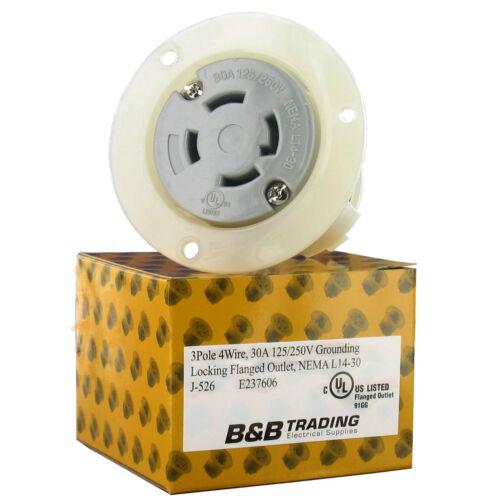 NEMA L14-30 30 AMP 125//250V 3 Pole 4 Wire Flanged Outlet cULus  L14-30FO cULus