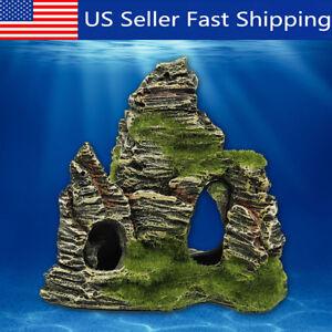 Mountain-View-Aquarium-Rock-Cave-Stone-Tree-Bridge-Fish-Tank-Ornament-US