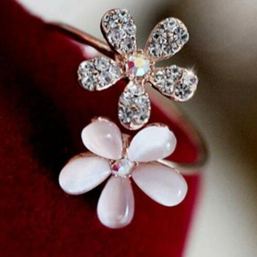 Moda Rhinestone Flores ópalos doble de Aleación Ajustable Anillo abierto de Margarita
