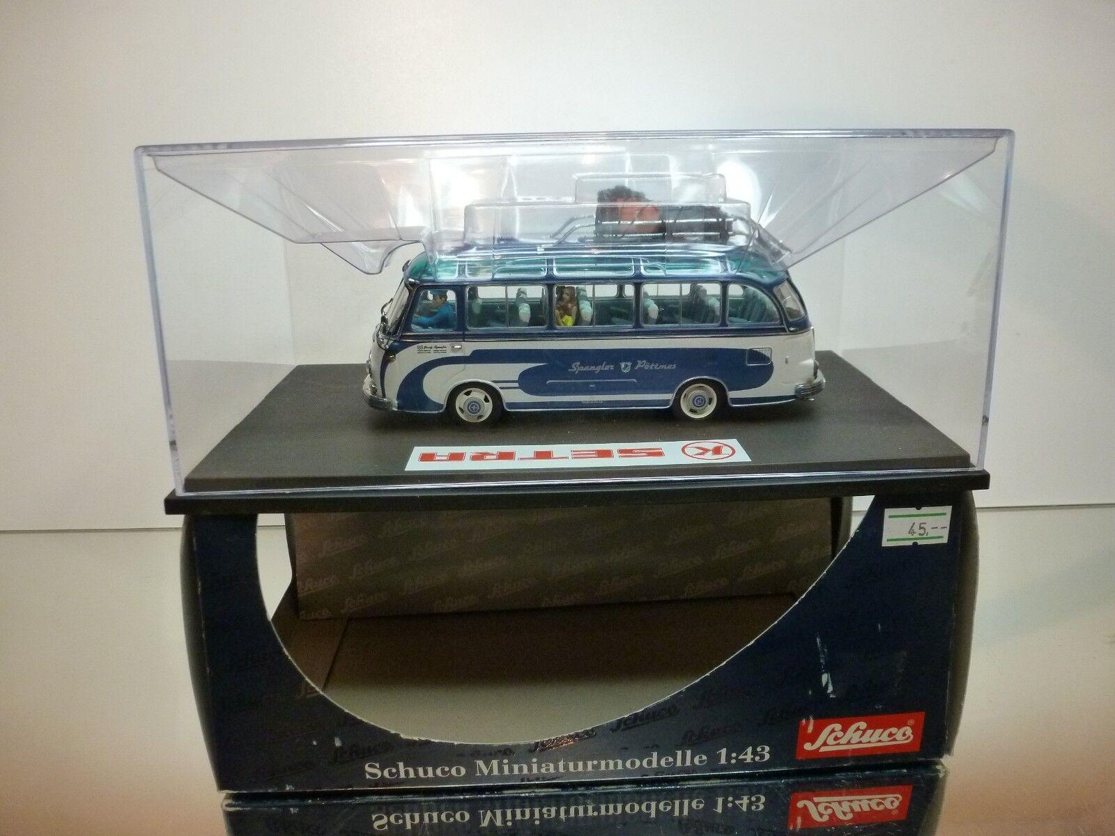 SCHUCO KÄSSBOHRER SETRA S6 - BUS SPANGLER - bleu + blanc 1 43 - EXCELLENT IN BOX