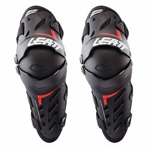 LEATT DUAL AXIS KNEE & SHIN GUARDS BLACK HINGED MOTOCROSS MX ENDURO BMX BRACES