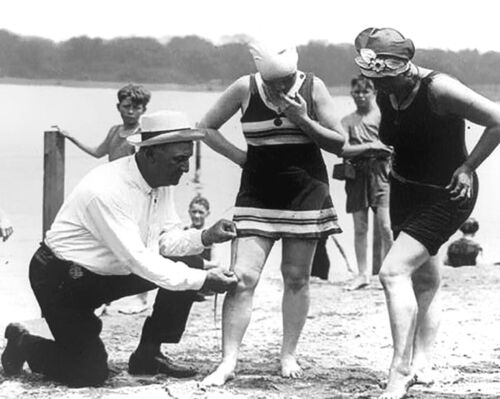 1920/'s Women fined by Bathing Suit Police for Bathing Suits Being too Short