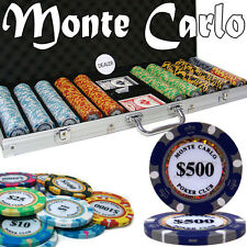 New 500 Monte Carlo 14g Clay Poker Chips Set with Aluminum Case - Pick Chips!