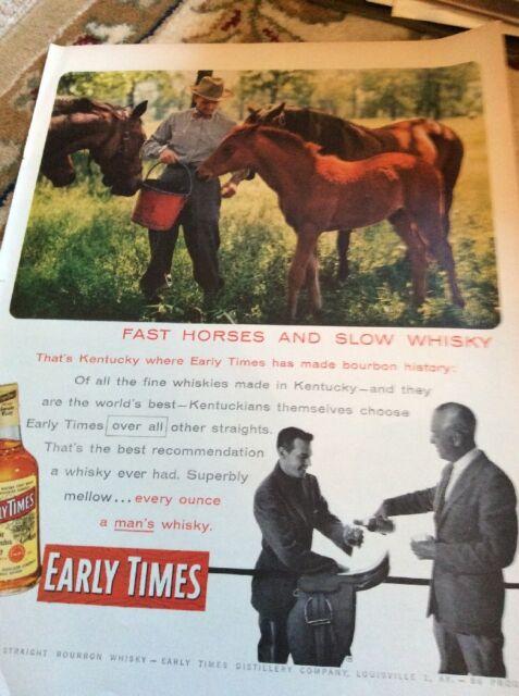 Q1b Ephemera 1956 Advert Folded Early Times Slow Whisky Fast Horses