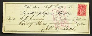 US-Check-Leavitt-amp-Johnson-Bankers-Waterloo-Paid-Stamp-1898-USA-Check-H-8101