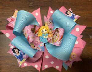 toddler hair bow Princess hair bow blue princess bow party hair bow, hair bow girls hair bow