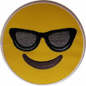 Yellow Smiley Face Sunglasses Emoji Patch Iron Sew On Smiling Embroidered Badge
