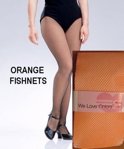 ORANGE Fishnet Stockings Tights Pantyhose Dance Costume Fits 90-160 lb Halloween