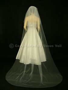 2T Ivory Bridal Cathedral Length Cut Edge Wedding Veil