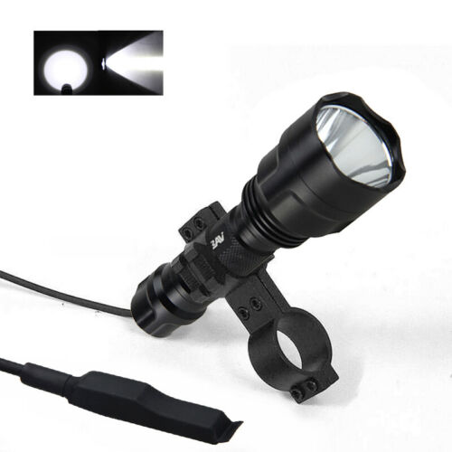 Tactical Red Green White LED Scope Mount Flashlight Lamp Hunting  Rifle Torch