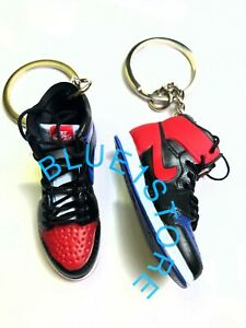 New Jordan 1 OFF WHITE BLUE ORANGE 3D Sneaker Key chain yeezy supreme bred nike