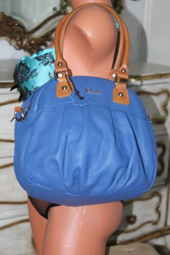Hand Genuine Large Italian Valentina New Soft Bag Leather Blue Shoulder YEpRqU