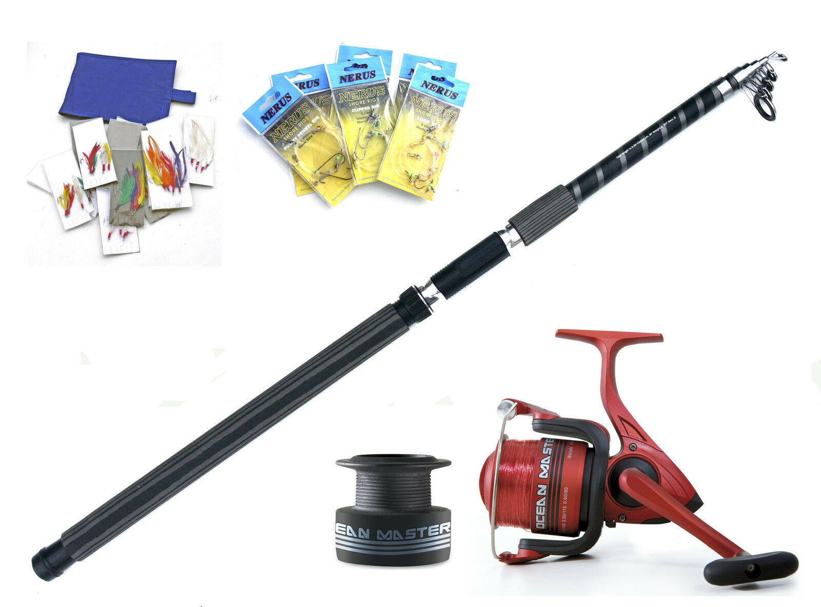 Compact telescopic beachcaster 3-6oz 10ft rod & 080 reel combo + Rigs & traces