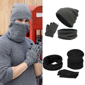 Mens Womens Beanie Hat + Gloves + Scarf Neck Warmer Winter Thermal ... d71c4dcb33a