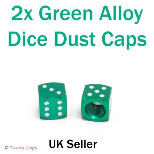 2X Green Dice Alloy Quality Valve Stem Dust Caps Car BMX Motorbike Mountain Bike