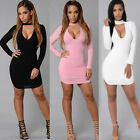 Sexy Women's Bandage Bodycon Long Sleeve Evening Sexy Party Cocktail Mini Dress