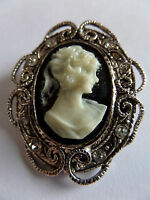 SILVER GOTHIC STEAMPUNK VICTORIAN EDWARDIAN VINTAGE STYLE CAMEO BROOCH new boxed