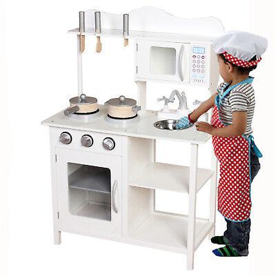 Kids Wooden Play Kitchen Boys Girls Pretend Toy Cooking
