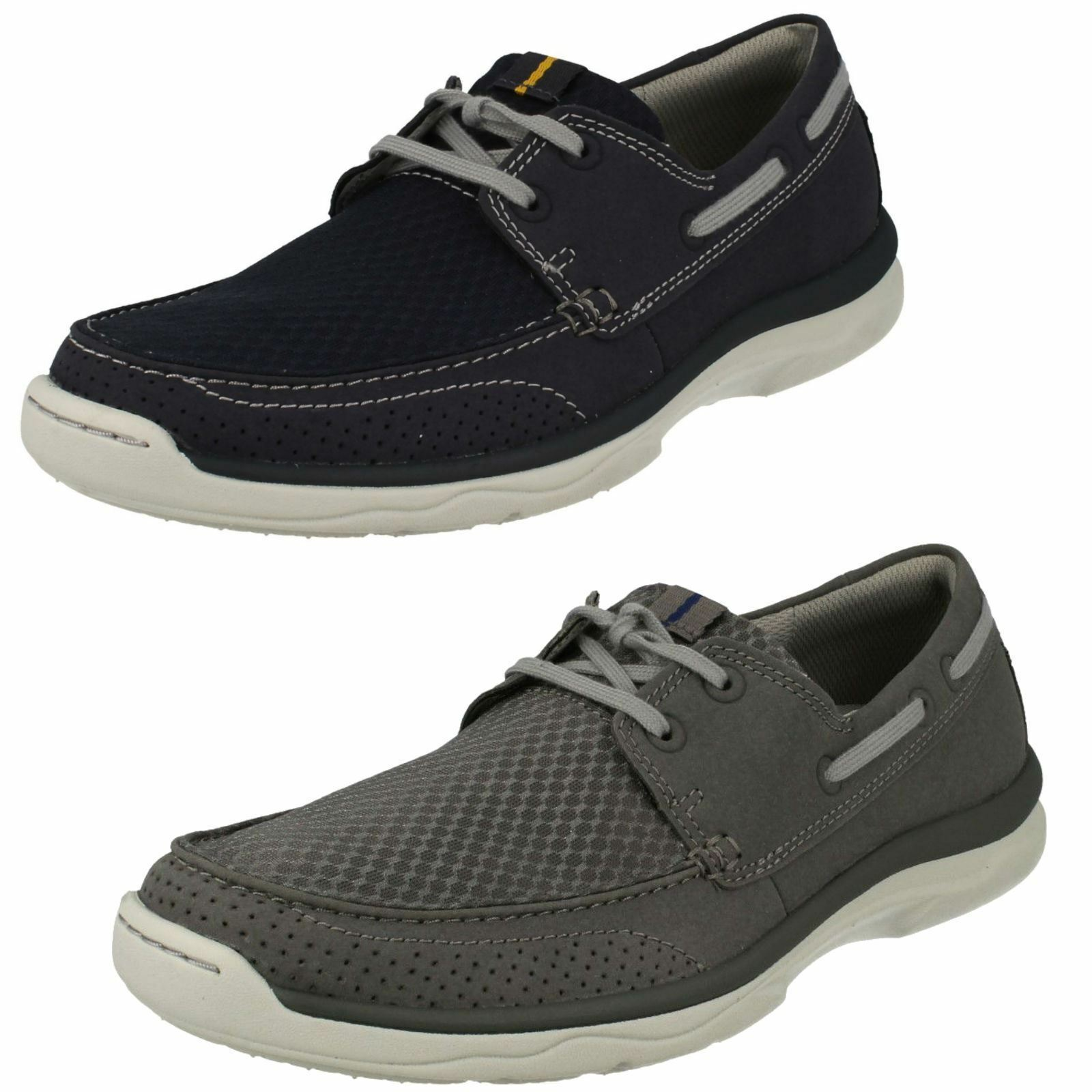 Mens Clarks Cloud Steppers Marus Edge Casual Lace Up Deck Shoes