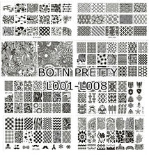 8x Nagel Schablone BORN PRETTY L001-L008 Nail Art Stamping Template Plates