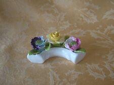 Amanda England Bone China Multi Color Flowers in White Crescent Moon Pot