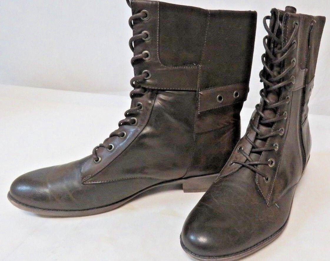 Women's Nine & Co JJpinkmonde TZH 0411 Calf Lace Up & Zipper Brown Boot Size 11M