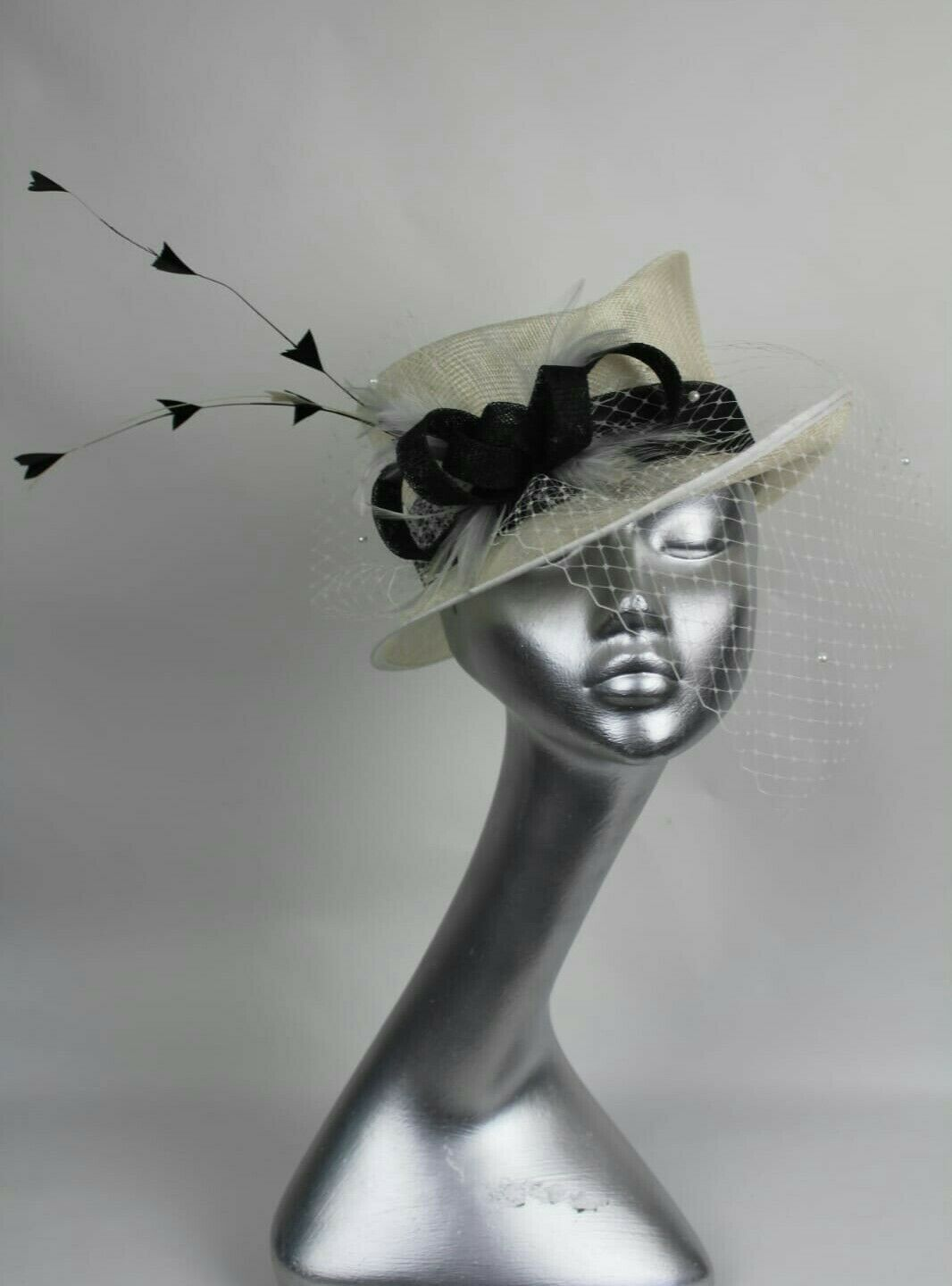 Ladies ivory & black occasion top hat style Ascot races mother of the bride