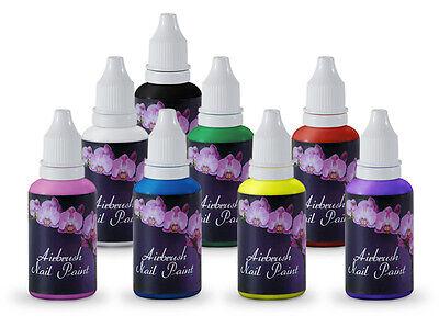 8 Color Fingernail Nail Kit Acrylic Art Airbrush Paint Polish Air Brush Set