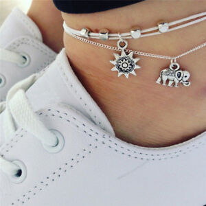 Bohemia-Elephant-Sun-Pendant-Anklet-Foot-Chain-Anklet-Barefoot-Beach-JewelryLD
