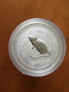 2007-2008-AUSTRALIAN-LUNAR-YEAR-OF-THE-RAT-1-Oz-SILVER-COIN-Series-1