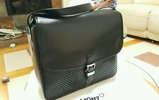 Montblanc Meisterstuck Soft Black Calfskin Messenger / Bag / Briefcase - New