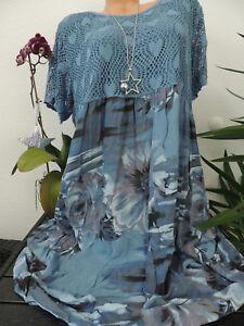 Damen Kleid Größe 46 48 50 52 54 Übergröße Kleider Maxikleid Blumen Spitze 100  eBay