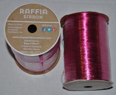 Pastel Pink Metallic Raffia Ribbon 1//4 X 100 Yards
