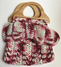 Handmade Crocheted Purse Pink and Brown Cotton Yarn Wooden Handles