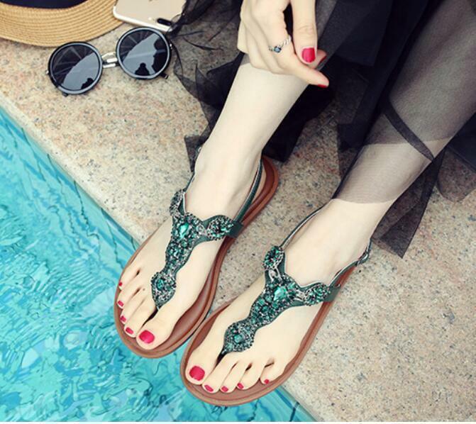 Chaussures Femme Escarpins Flats Boho Beach Flats Sandales Strass String Chaussures De Loisirs