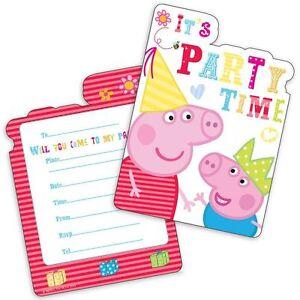 PEPPA-PIG-FESTA-INVITI-PARTY-Supplies-Ragazza-Ragazzi-Inc-BUSTE-invita