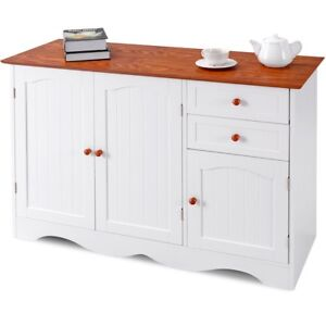 Details about Wood Modern Kitchen Buffet Storage Cabinet Sideboard Cupboard  2 Drawers Pantry