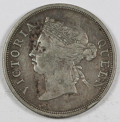 Straits Settlements 1898 50 Cents Silver Coin Vf+/xf Queen Victoria Km#13
