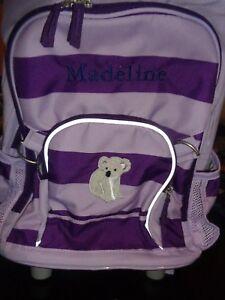 Pottery Barn Kids Fairfax Rolling Backpack Lavender Stripe
