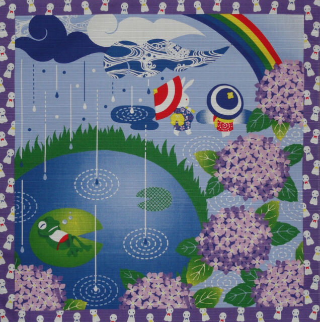 Furoshiki Japanese Fabric Cloth 'Rabbits and Frog on a Rainy Day' Cotton 50cm
