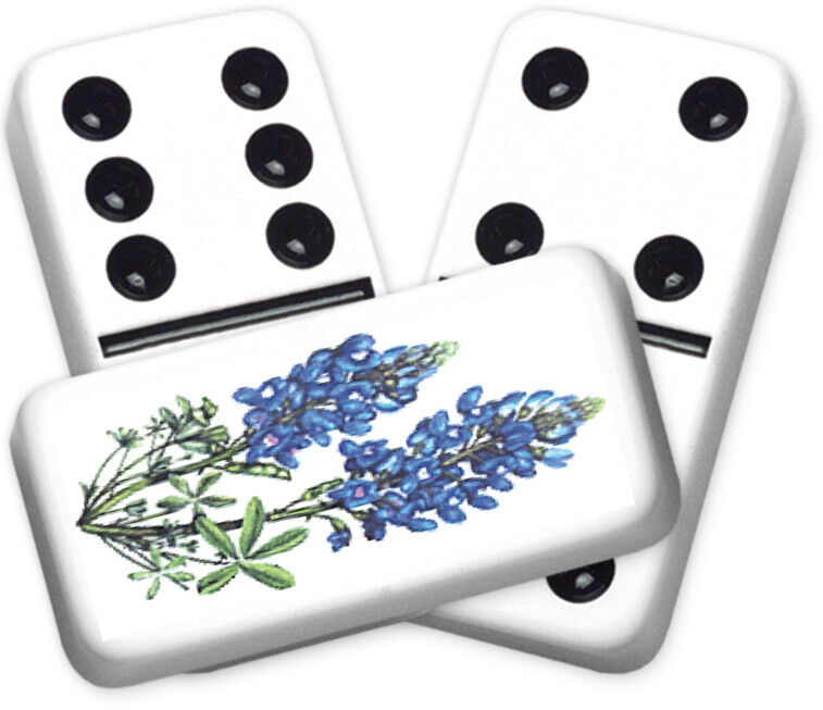 Texana Series Two blubonnets Design Double six Professional Dimensione Dominoes