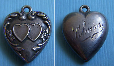 """Vintage hearts and flowers  puffy heart """"Silvia"""" sterling charm"""