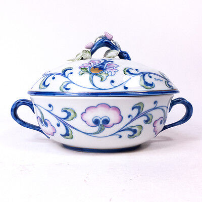"""Antique Societa Porcelain Serving Dish Bowl W/ Cover Made In Italy 6"""" X 10"""""""