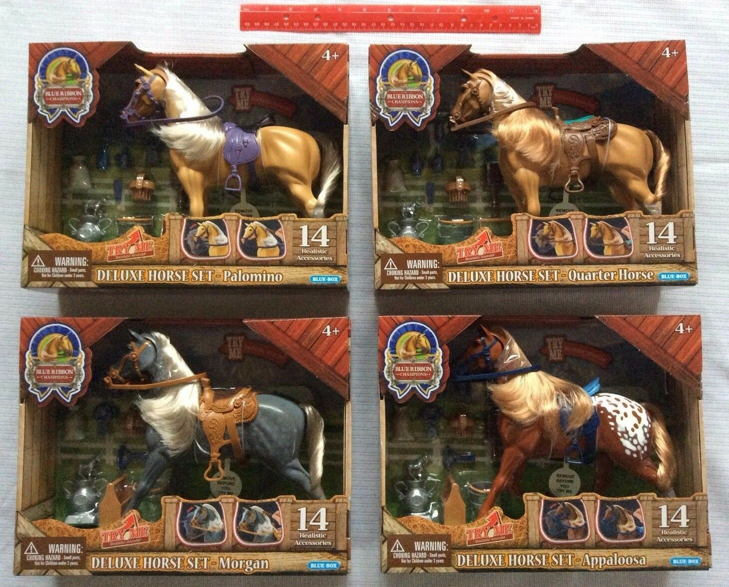 bluee Ribbon Champions Deluxe Horse Set 4 Lot  Palomino Morgan Appaloosa Quarter