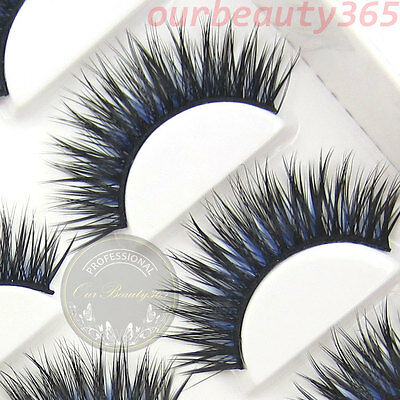 BXM16 6 Pairs Nature Long Thick Black + Blue False Eyelashes Party eye lashes