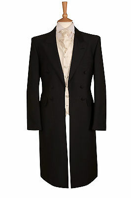 MENS BLACK WOOL HERRINGBONE EX HIRE WEDDING FROCKCOAT FUNERAL DRESS FROCK COAT
