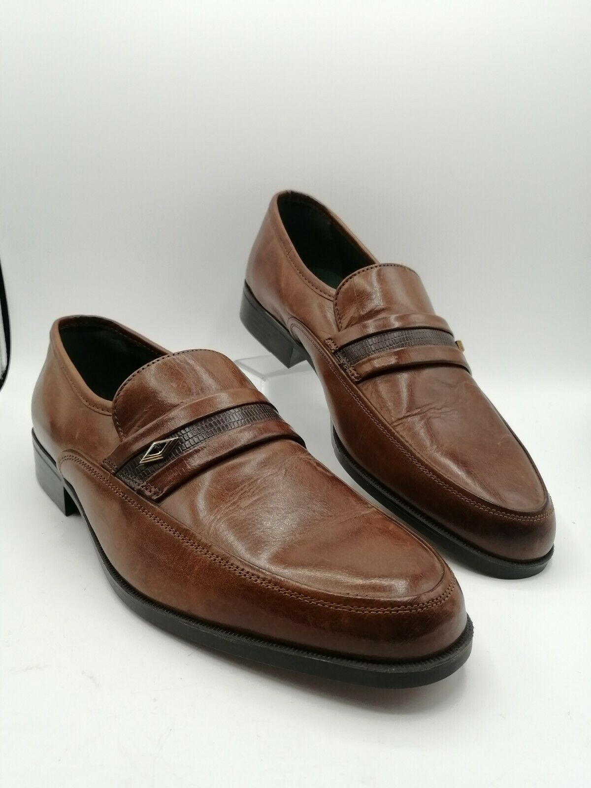 Clarks Made in Italy Brown Leather Slip on Loafers Shoes - UK 10