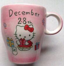 2004 HELLO KITTY COFFEE MUG, DECEMBER 28, YAGI-ZA, PINK, MADE IN JAPAN